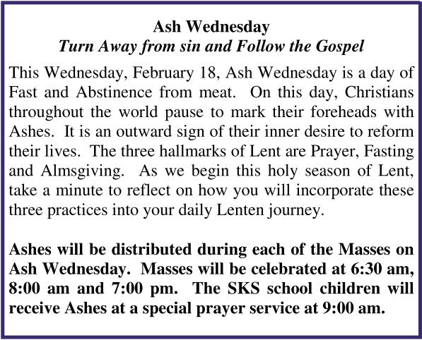 Ash Wednesday 2015
