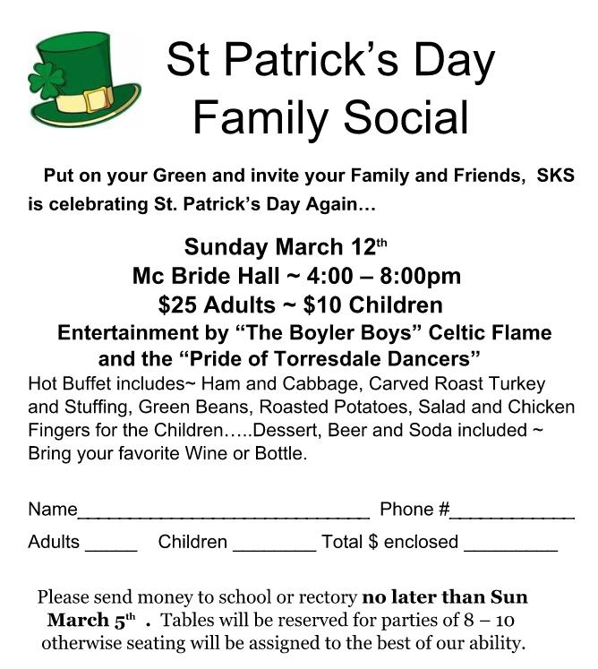 St PATrick Social