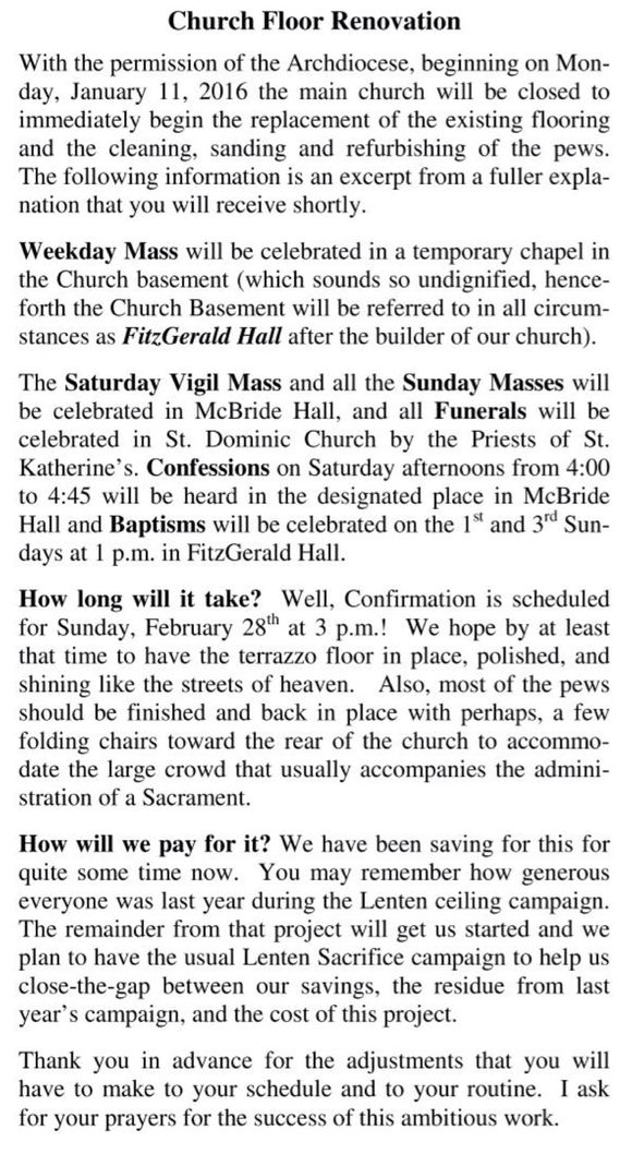 Announcement from Father Kennedy on church improvement project