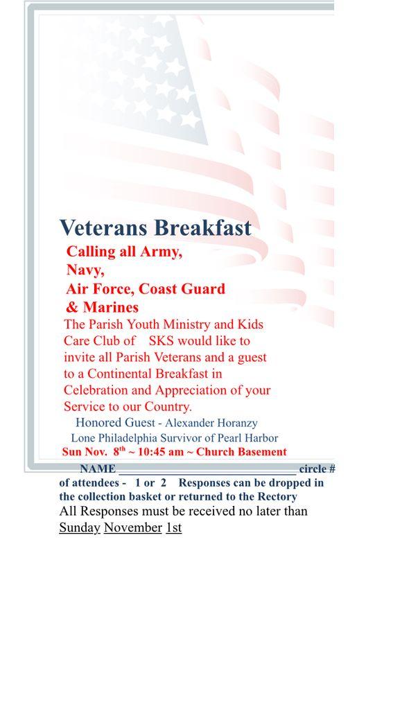 PYM Veterans Breakfast