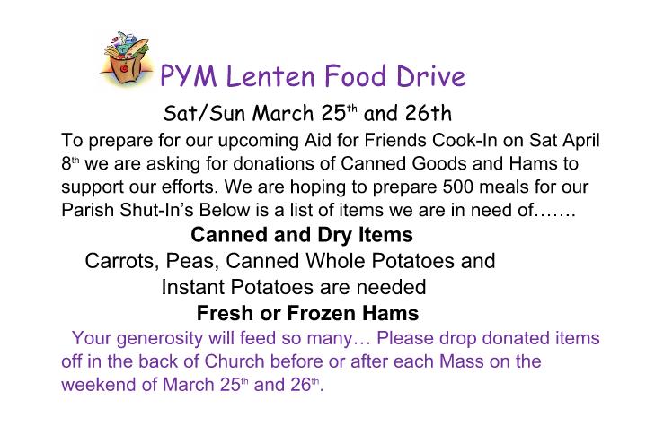 PYM Lenten Food Drive