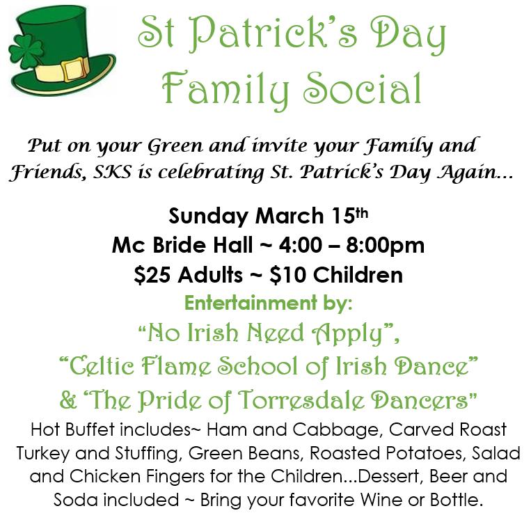 St Patrick Day Social