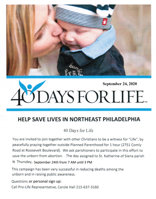 40 Days for Life Poster 2020